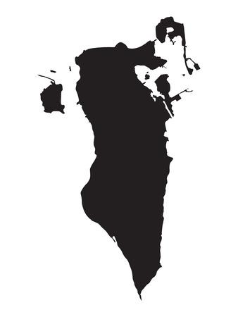 bahrain: black map of Bahrain Illustration