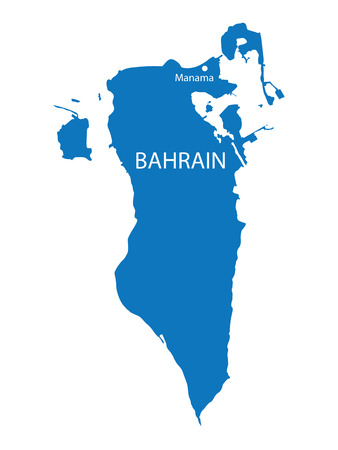 blue map of Bahrain Vector