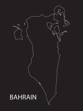 outline of Bahrain map Vector