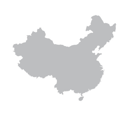 china art: grey China map