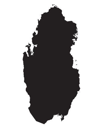 qatar: black map of Qatar