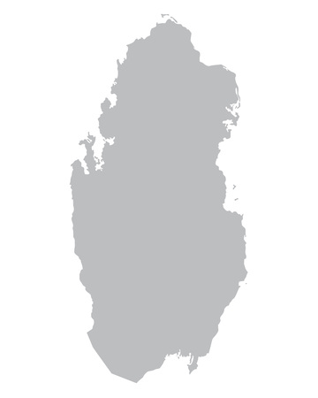 qatar: grey map of Qatar