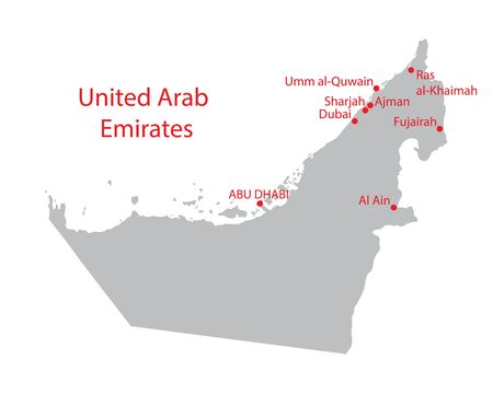 largest: grey United Arab Emirates map with indication of largest cities Illustration