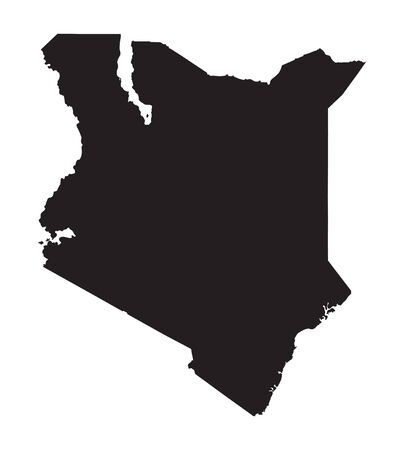 black map of Kenya Vector