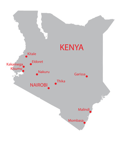largest: grey map of Kenya with indication of largest cities Illustration