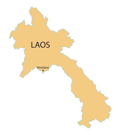 laos: yellow map of Laos