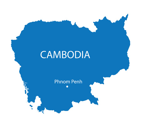blue map of Cambodia Vector