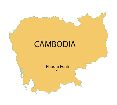yellow map of Cambodia with indication of Phnom Penh Vector
