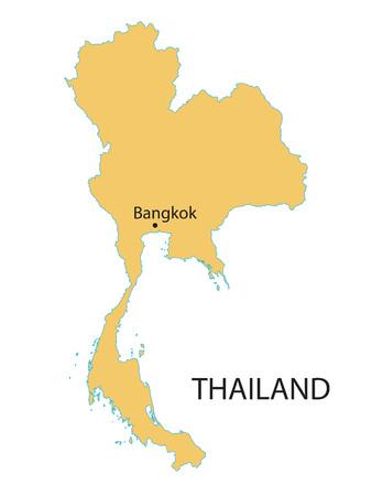 yelllow: yelllow map of Thailand with indication of Bangkok