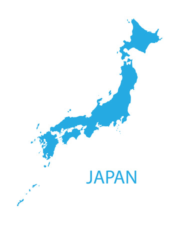 blue map of Japan Illustration