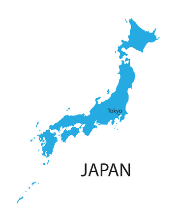 blue map of Japan with indication of Tokyo