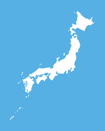 white map of Japan