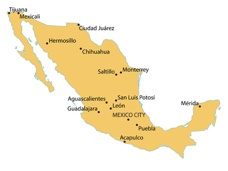 largest: map of Mexico with indication of largest cities