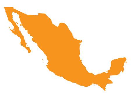 mexico city: orange map of Mexico