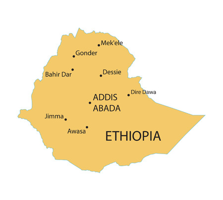 largest: map of Ethiopia with indication of largest cities Illustration