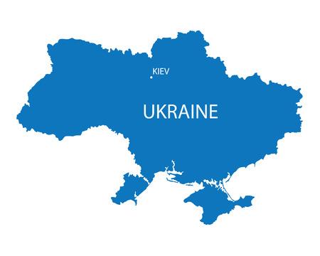 Blue map of Ukraine