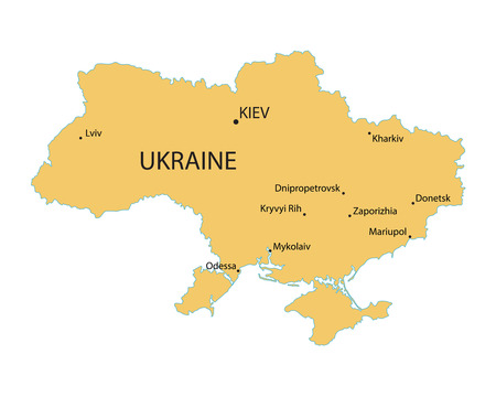 largest: Yellow map of Ukraine with indication of largest cities
