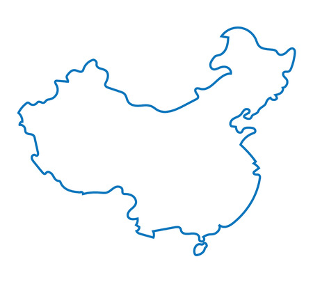 prc: blue abstract map of China Illustration
