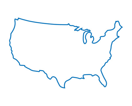 silhouette america: blue abstract map of United States