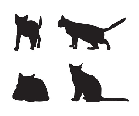 cat sleeping: black silhouettes of cats