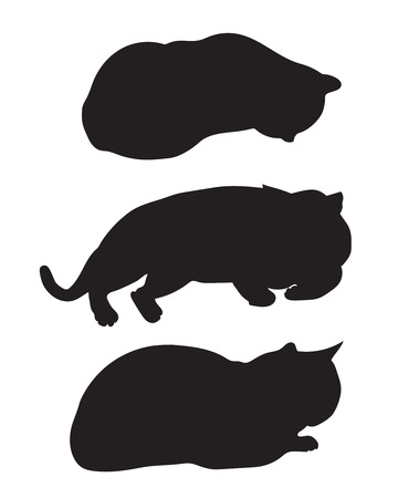 black silhouettes lying cats Vector