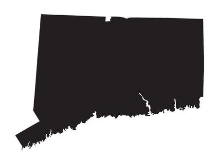 black map of Connecticut