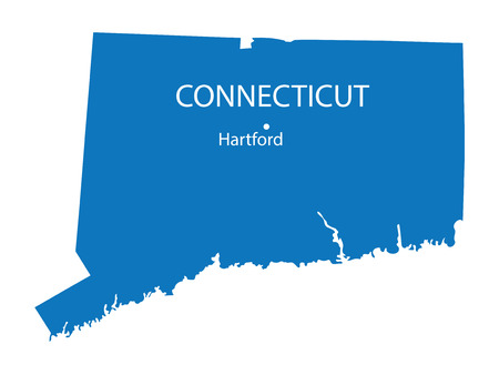 hartford: blue map of Connecticut with indication of Hartford