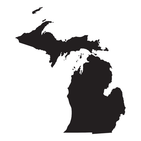 black map of Michigan Иллюстрация