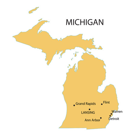 largest: yellow map of Michigan with indication of largest cities Illustration