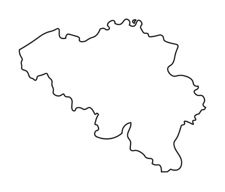 black abstract outline of map of Belgium Illustration