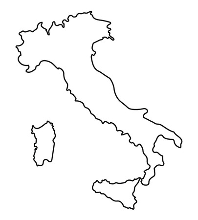 black abstract outline of map of Italy Çizim