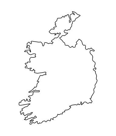 irish map: black abstract map od Ireland