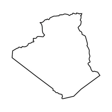 esquema abstracto negro de Argelia mapa Ilustración de vector