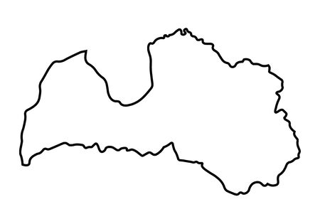 latvia: black abstract map of Latvia