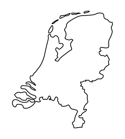 black abstract map of Netherlands map