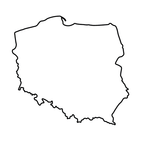 black abstract outline of Poland map 矢量图像