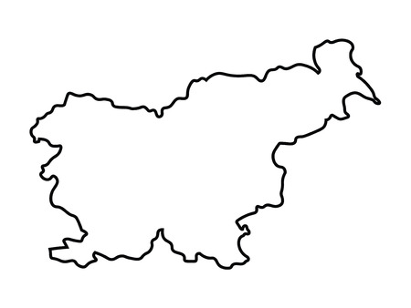 black abstract map of Slovenia Illustration