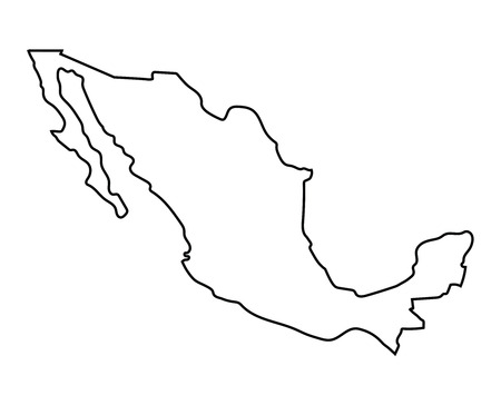 outline of Mexico map
