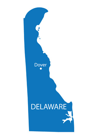 dover: blue map of Delaware