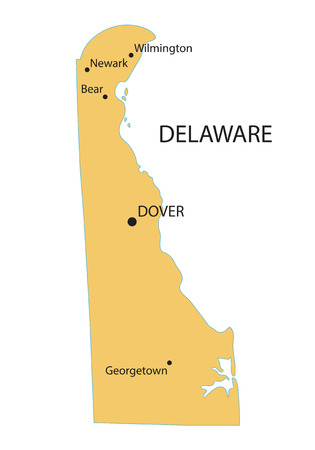 dover: yellow map of Delaware with indication of largest cities Illustration