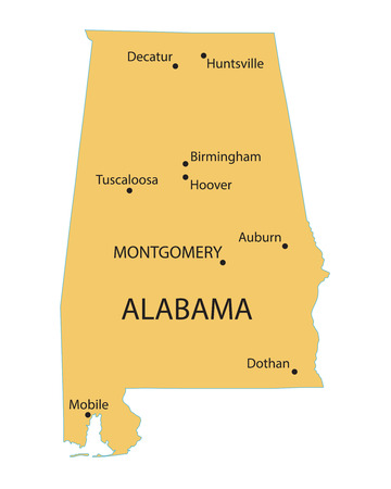 birmingham: yellow map of Alabama with indication of largest cities Illustration