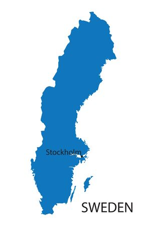 education in sweden: blue map of Sweden
