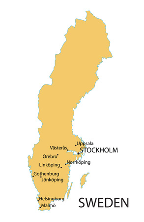 largest: yellow map of Sweden with indication of largest cities