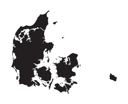 black map of Denmark