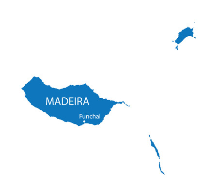 madeira: blue map of Madeira Illustration