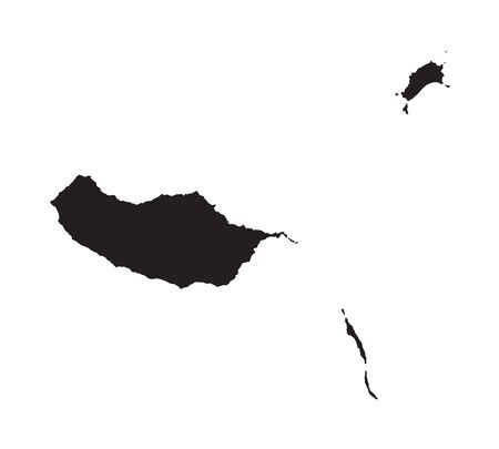madeira: black map of Madeira Illustration