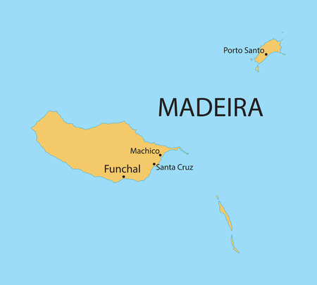 madeira: yellow map of Madeira Islands with indication of largest cities Illustration