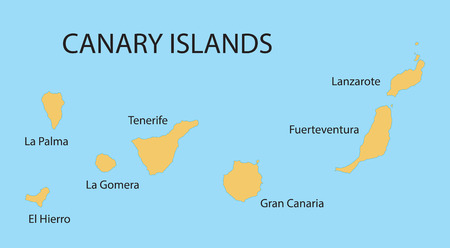 canary islands: yellow map of Canary Islands