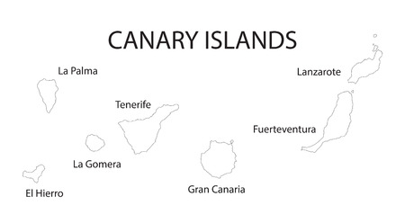 canary islands: outline map of Canary Islands