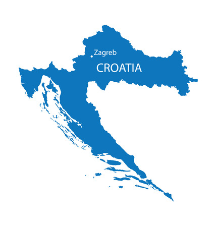 croatia: blue map of Croatia with indication of Zagreb Illustration